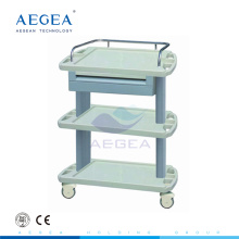 AG-LPT004A Three layers hospital luxurious clinic plastic therapy trolley with drawers